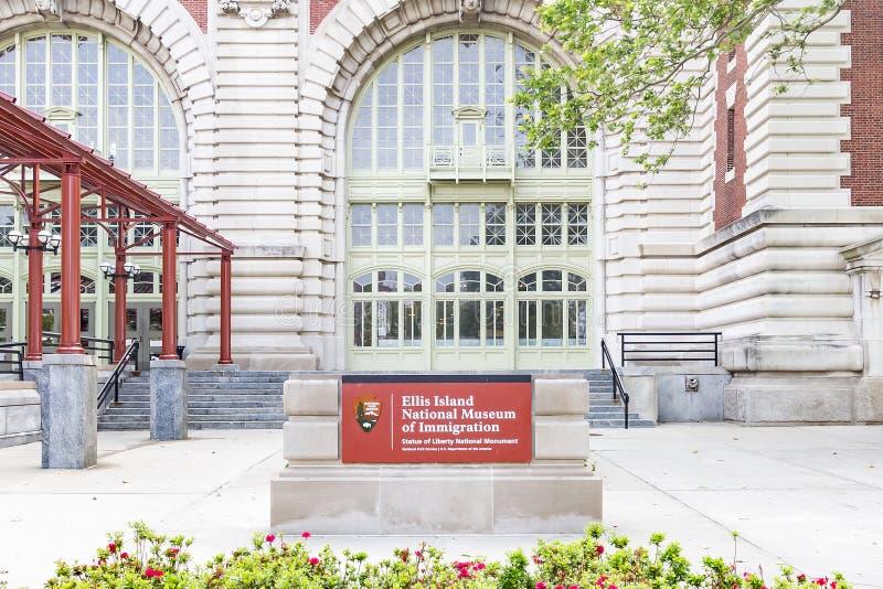 纽约,美国- 06-03-2016 -移民国家博物馆的入口在阿利斯海岛,纽约,美国上的 免版税图库摄影