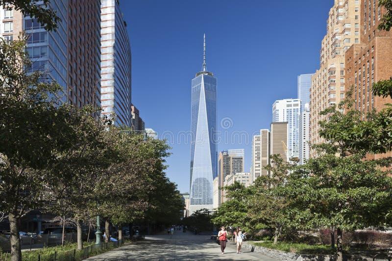 纽约,美国-自由塔在更低的曼哈顿 免版税库存图片