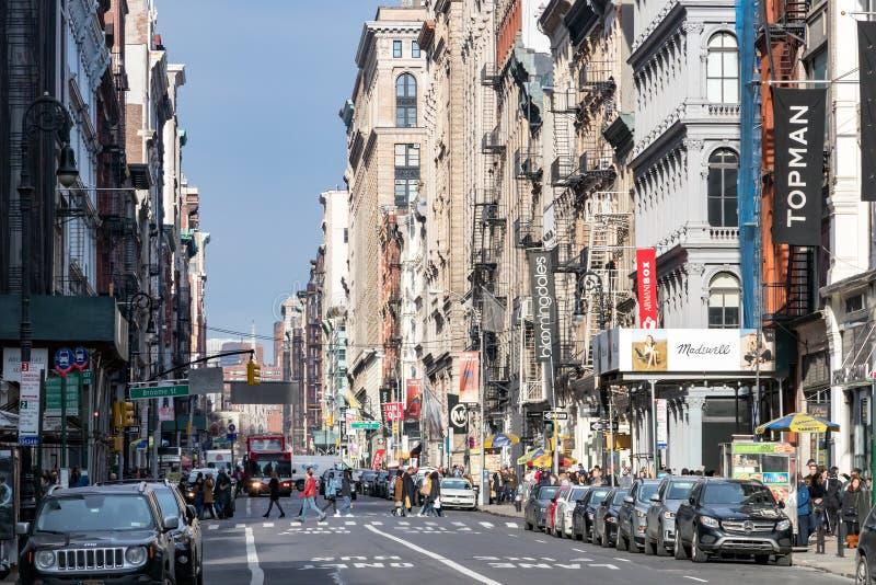 纽约, 2018年:苏活区街道和边路  免版税库存图片