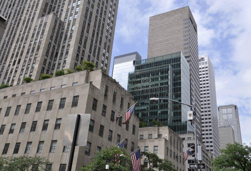 纽约, 7月2日:洛克菲勒摩天大楼细节在从纽约的曼哈顿在美国 免版税库存照片