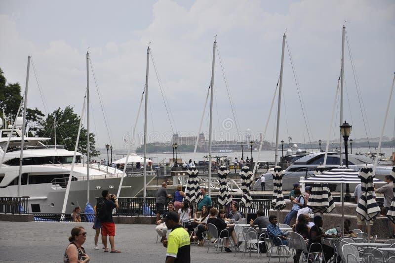 纽约, 7月2日:Brookfield地方江边在从纽约的曼哈顿在美国 免版税图库摄影