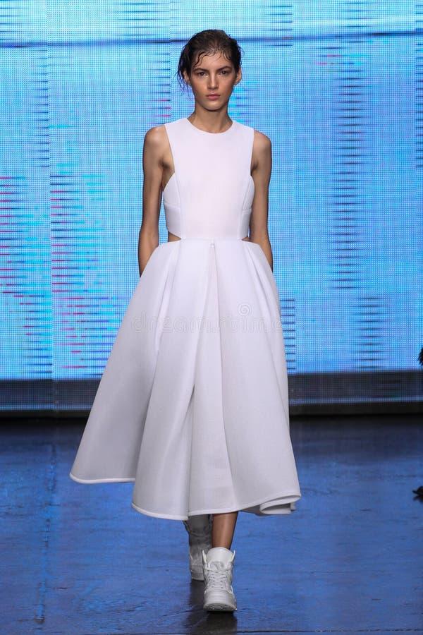 纽约, NY - 9月07日:式样瓦列里考夫曼步行DKNY春天2015时尚汇集的跑道 免版税库存图片