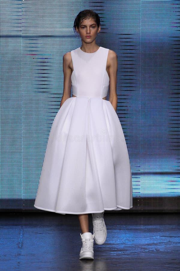纽约, NY - 9月07日:式样瓦列里考夫曼步行DKNY春天2015时尚汇集的跑道 库存照片