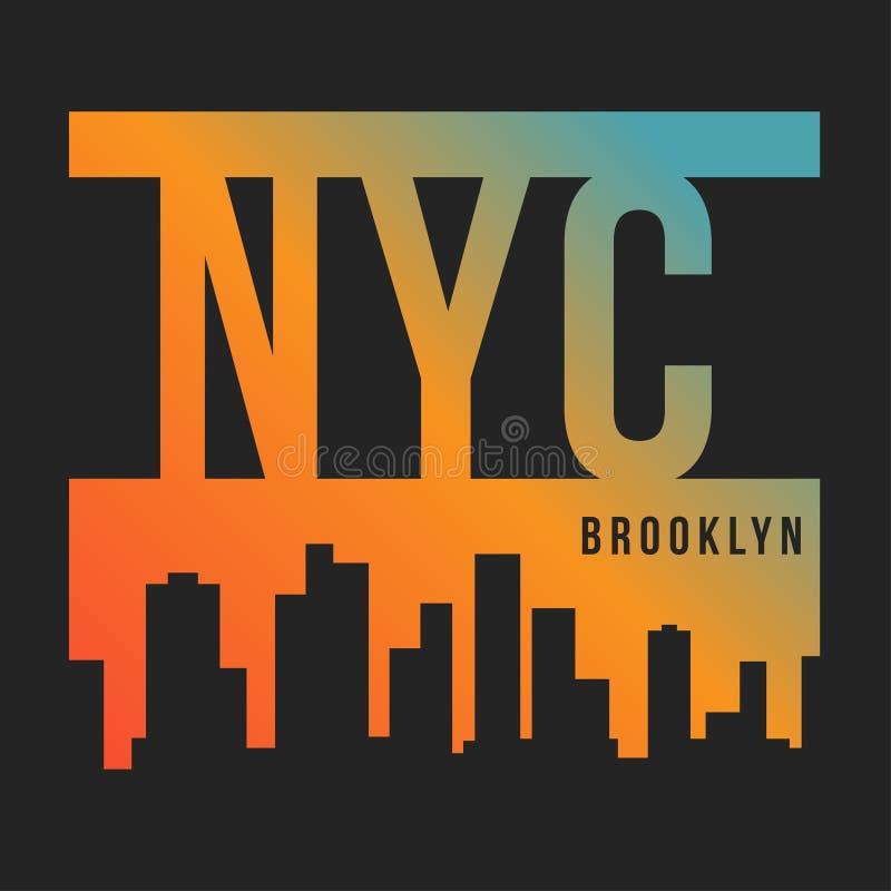 纽约, T恤杉印刷品的布鲁克林 纽约地平线剪影 T恤杉图表 库存例证