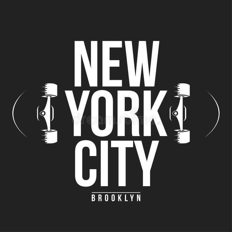 纽约, T恤杉印刷品的踩滑板的印刷术 库存例证