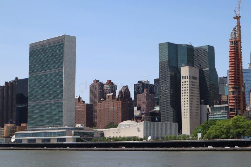 纽约,NY,美国- 2019年5月23日-联合国总部大楼在纽约 住宅区的纽约联合国复合体 ?? 库存图片