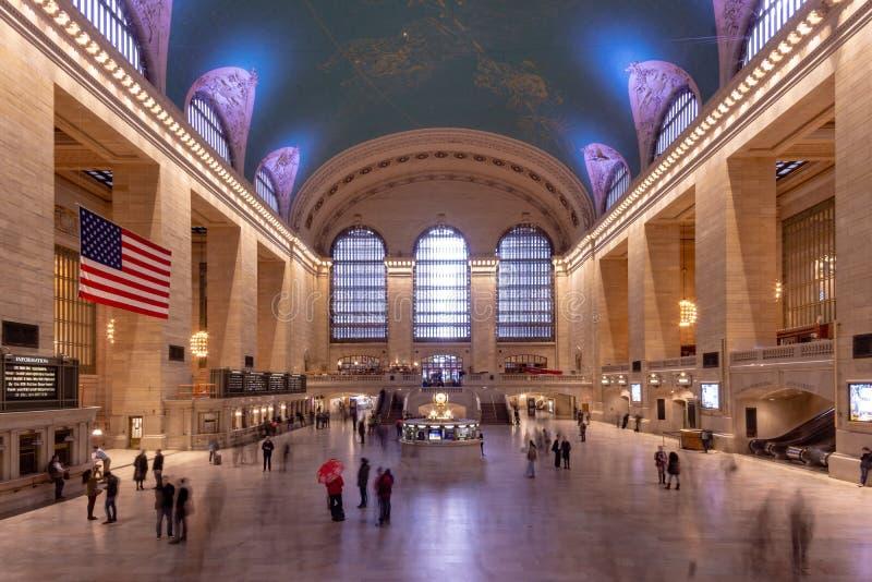 纽约,NY/美国- 3月 25日2019年:盛大驻地终端内部风景在曼哈顿 免版税库存照片