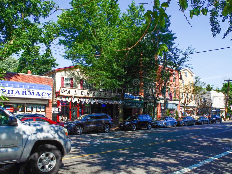 纽约-城市海岛街道在纽约-美国 免版税图库摄影