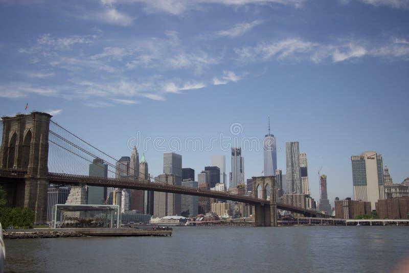 纽约-布鲁克林大桥全景  库存图片