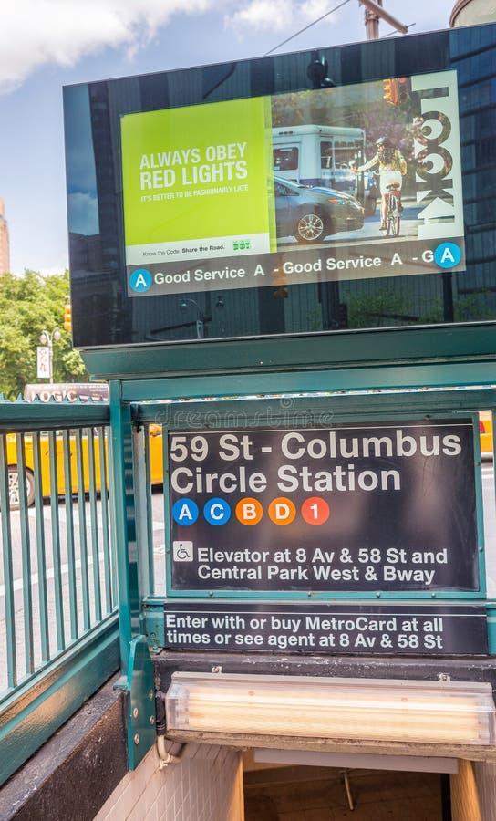纽约- 2013年6月:哥伦布圈子驻地入口 新 库存照片