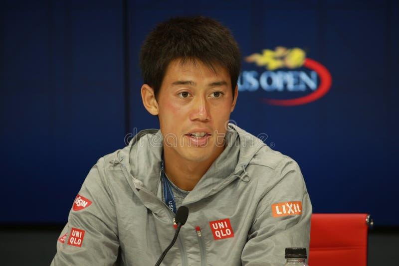 纽约- 2016年9月1日:日本的职业网球球员锦织圭在新闻招待会期间的在美国Open2016的比赛以后 库存图片