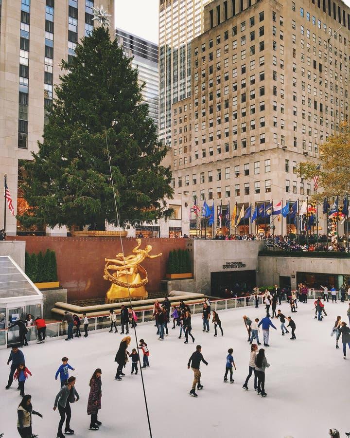 纽约主要圣诞树洛克菲勒中心的,纽约,美国 免版税库存图片