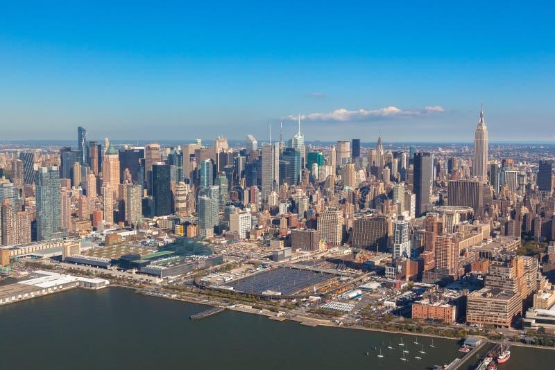 纽约NYC 降低曼哈顿 直升机视图 图库摄影
