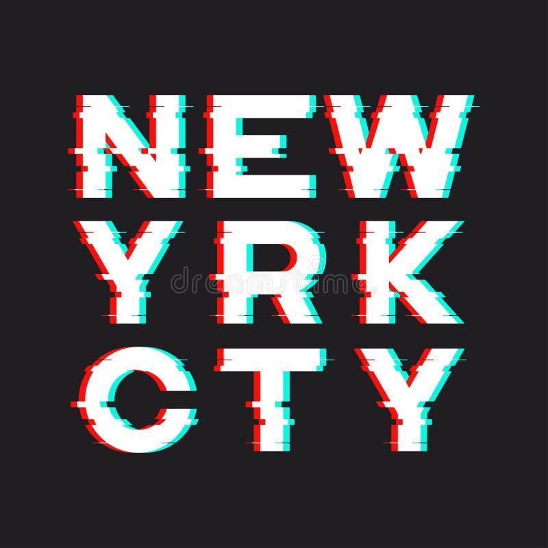 纽约T恤杉和服装设计与噪声,小故障, distorti 皇族释放例证