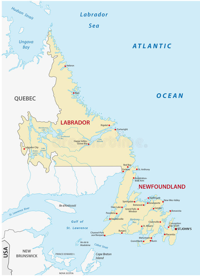 纽芬兰和拉布拉多地图 向量例证