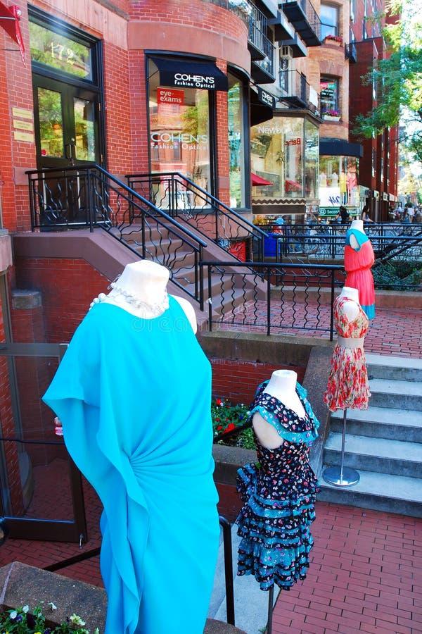 纽贝里街,波士顿商店  免版税库存图片