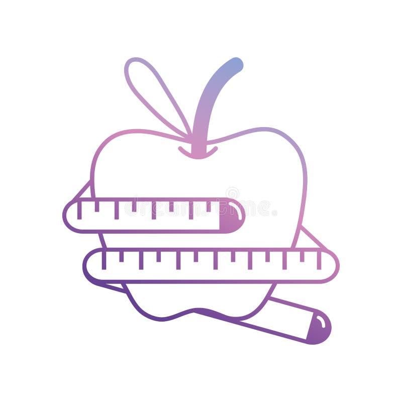 线与磁带测量的苹果果子 向量例证
