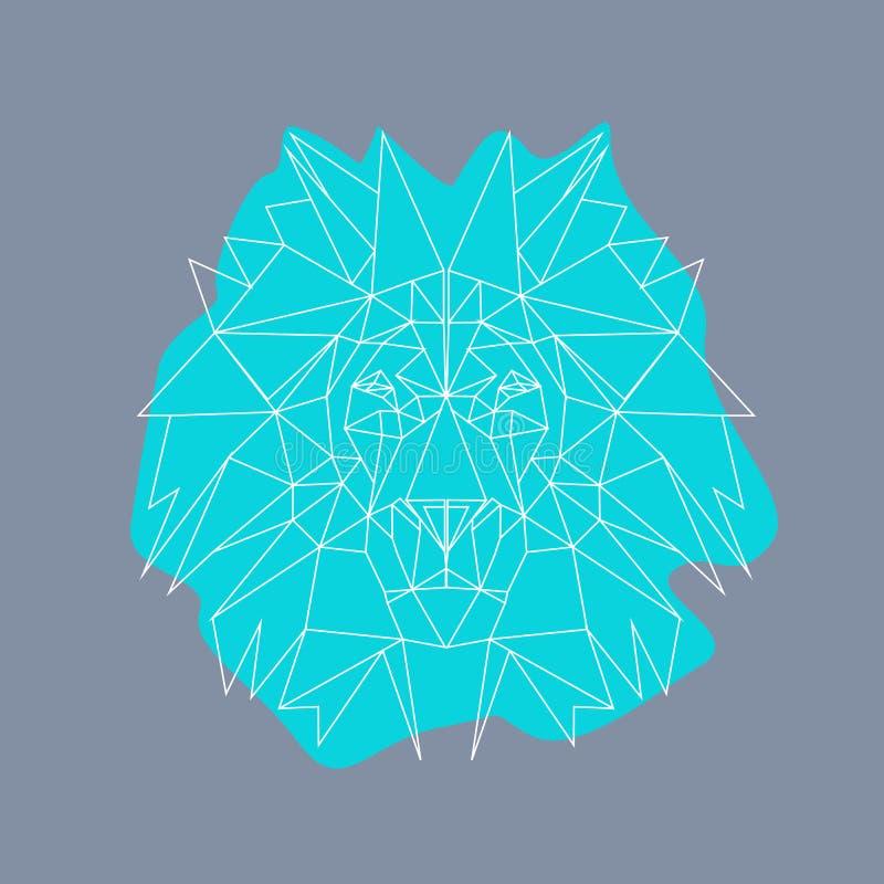 线例证-狮子 纹身花刺的,网背景,表面纹理,纺织品理想 库存例证
