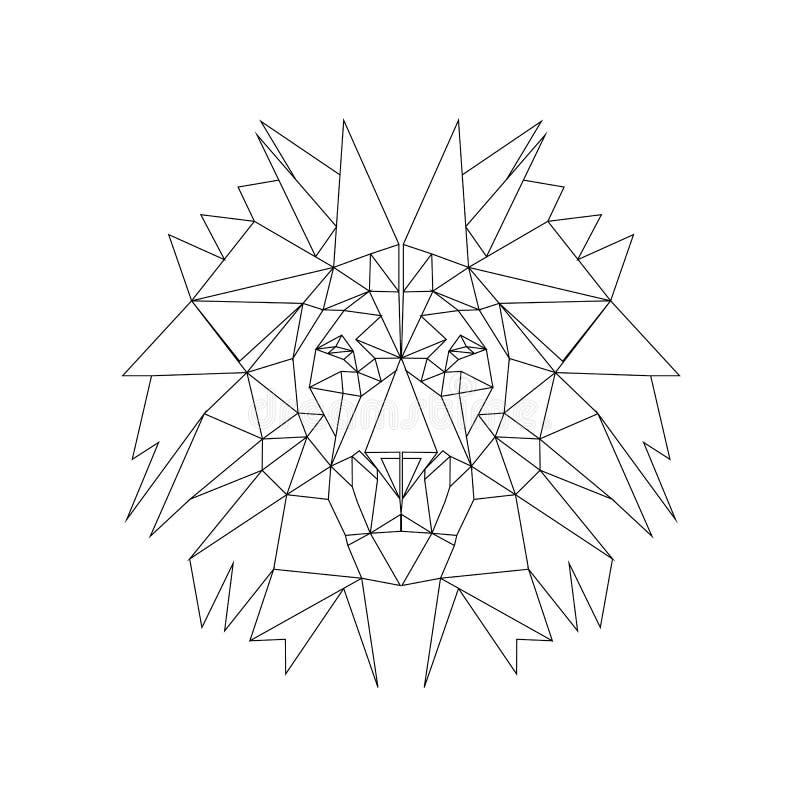 线例证-狮子 纹身花刺的,网背景,表面纹理,纺织品理想 向量例证