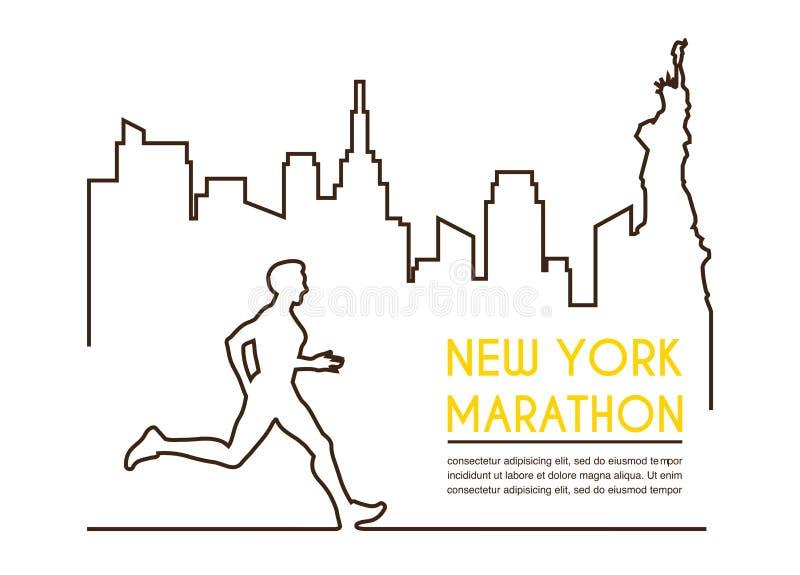 线公赛跑者剪影  连续马拉松,海报设计 皇族释放例证