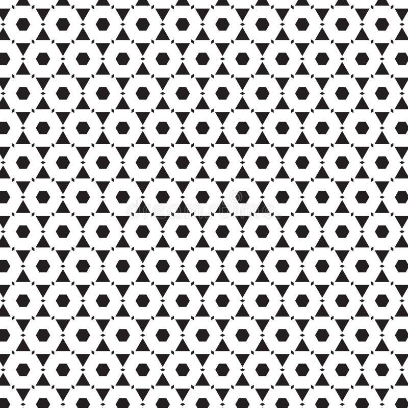 线几何对象图形设计背景传染媒介例证的抽象无缝的黑&白色装饰品样式 向量例证