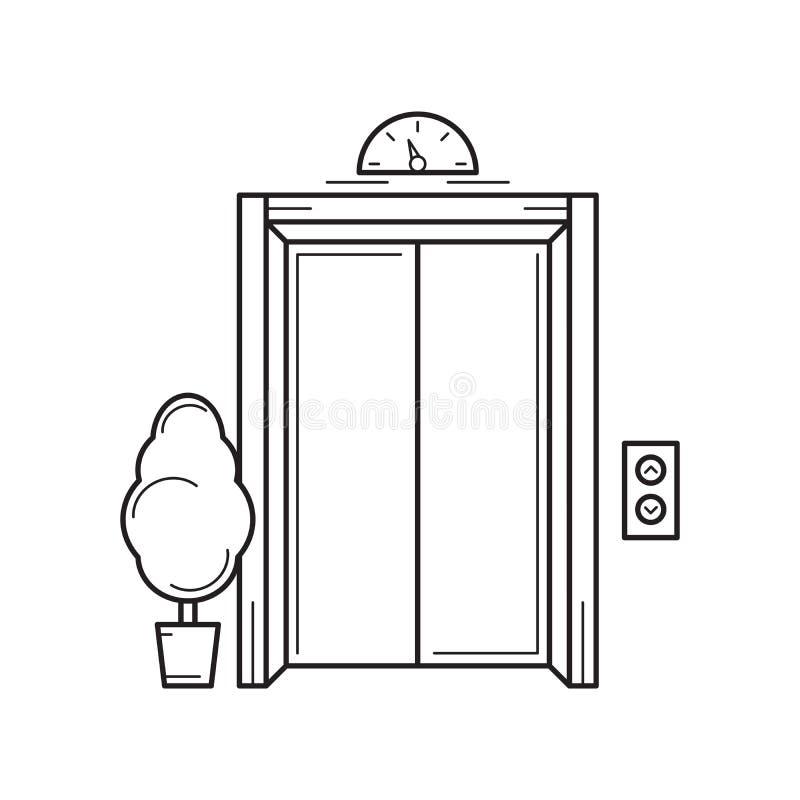 线办公楼电梯和树 查出的向量例证 向量例证