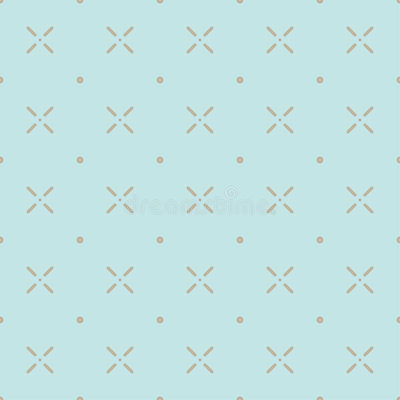 线和圈子的简单的无缝的样式 轻的背景 向量例证