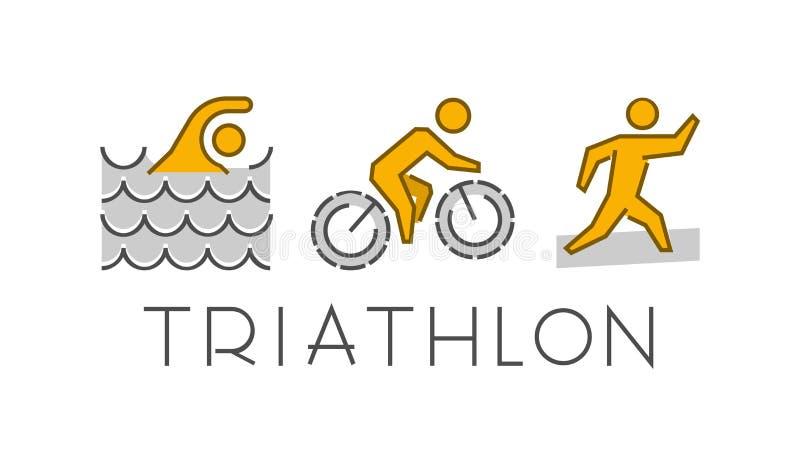 线和平的三项全能商标 游泳,循环和跑象 向量例证