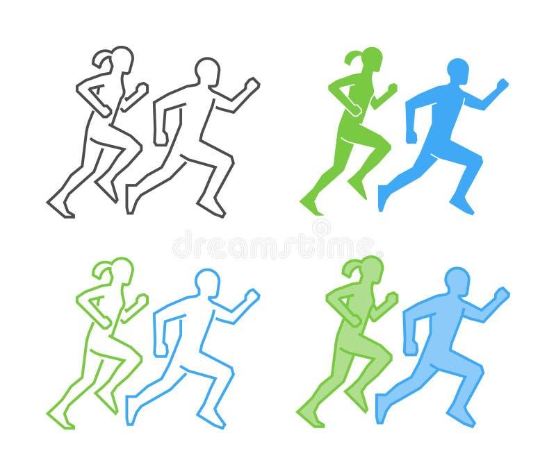 线和平的连续商标 传染媒介连续象 赛跑者silhouet 库存例证