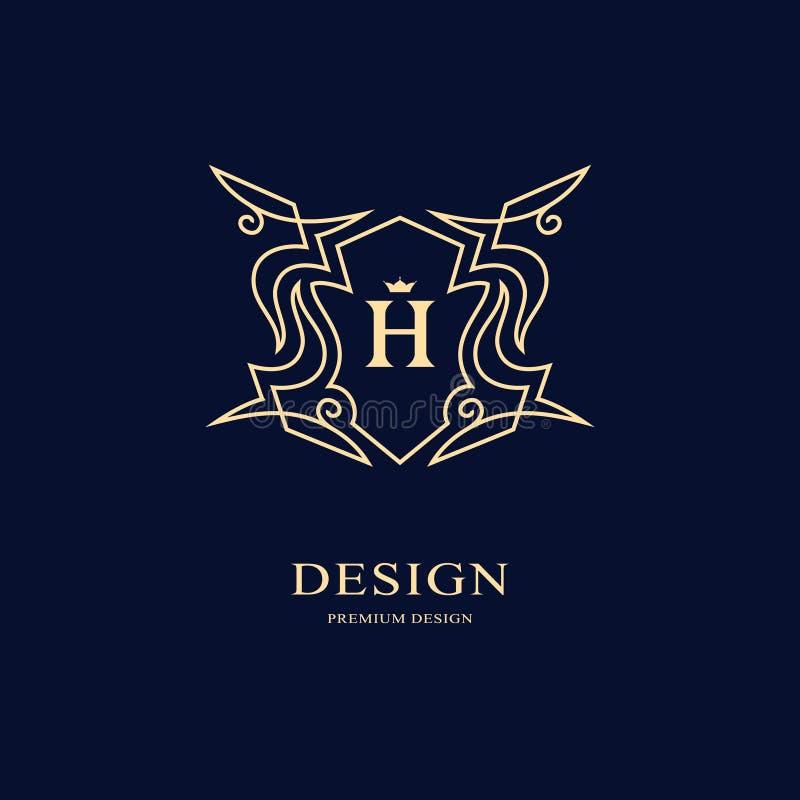 线图表组合图案 文雅艺术商标设计 信函H 优美的模板 企业标志,餐馆的,皇族, Bou身分 向量例证