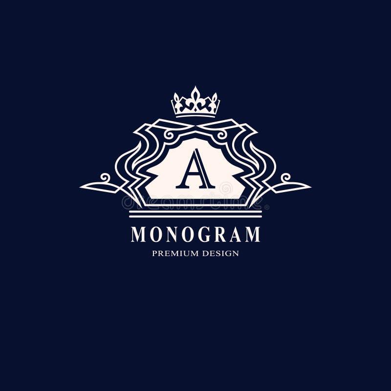 线图表组合图案 文雅艺术商标设计 在A上写字 优美的模板 企业标志,餐馆的,皇族, Bou身分 皇族释放例证