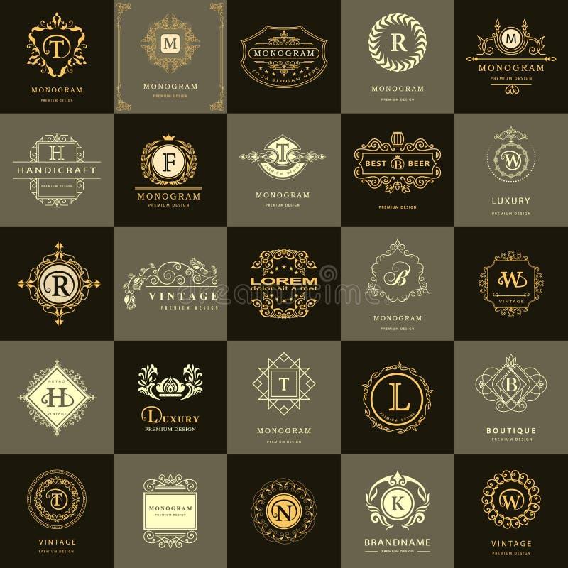 线图表组合图案 葡萄酒商标被设置的设计模板 企业标志信件象征 传染媒介略写法元素汇集, Ico 皇族释放例证