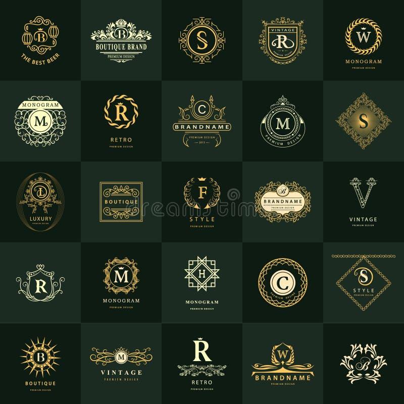 线图表组合图案 葡萄酒商标被设置的设计模板 企业标志信件象征 向量例证