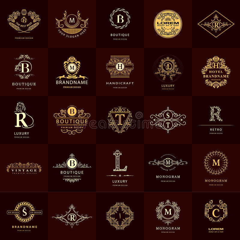 线图表组合图案 葡萄酒商标被设置的设计模板 企业标志信件象征 皇族释放例证