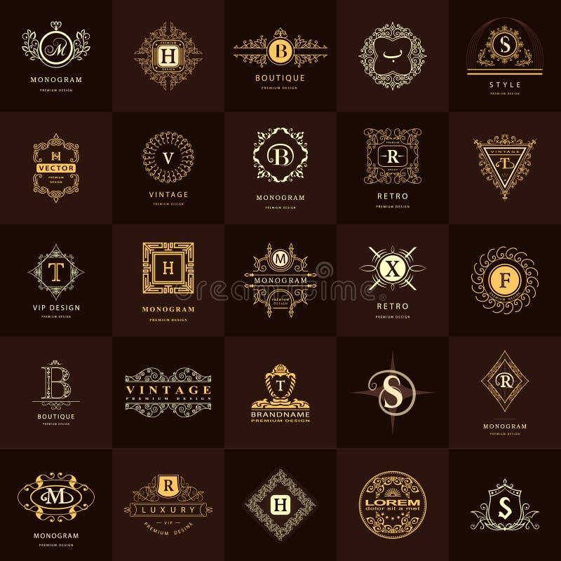 线图表组合图案 葡萄酒商标被设置的设计模板 向量例证