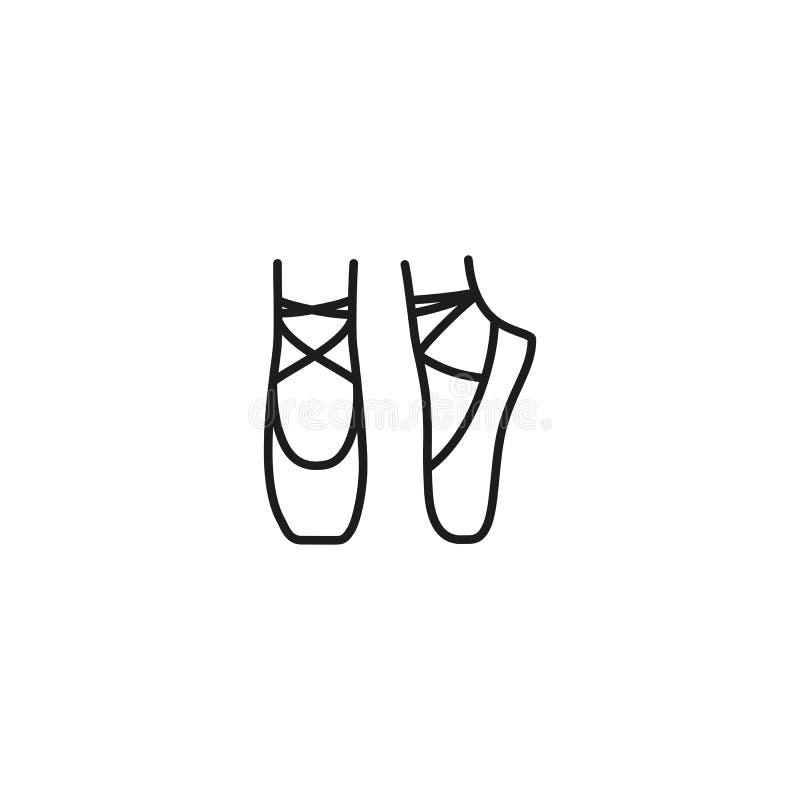 线在白色背景的芭蕾舞鞋象 向量例证