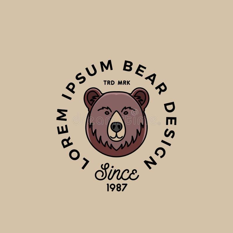 线型与减速火箭的印刷术的熊面孔 抽象传染媒介标志、标志或者商标模板 动画片剪影 皇族释放例证