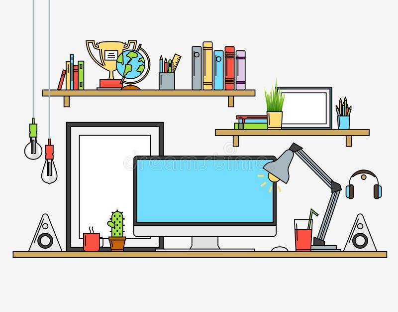 线平的设计嘲笑现代工作区 导航例证海报,灯,铅笔,地球,优胜者杯子,横幅 向量例证