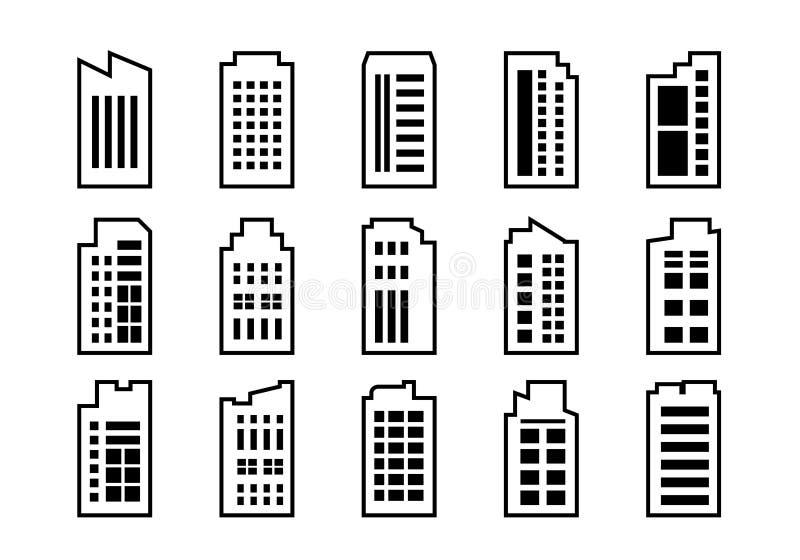 线建立在白色背景,黑公司传染媒介收藏,被隔绝的企业例证的象集合 库存例证