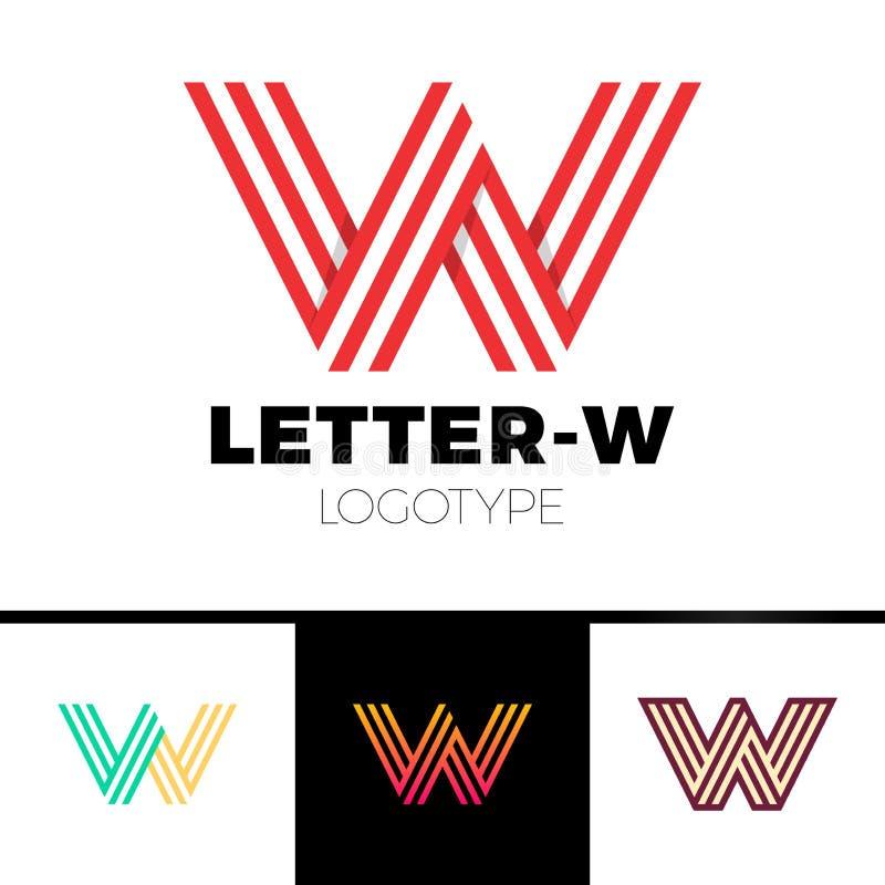 线性不可能的形状信件W商标设计的模板 键入字符标志组合图案略写法迷宫概念 向量例证