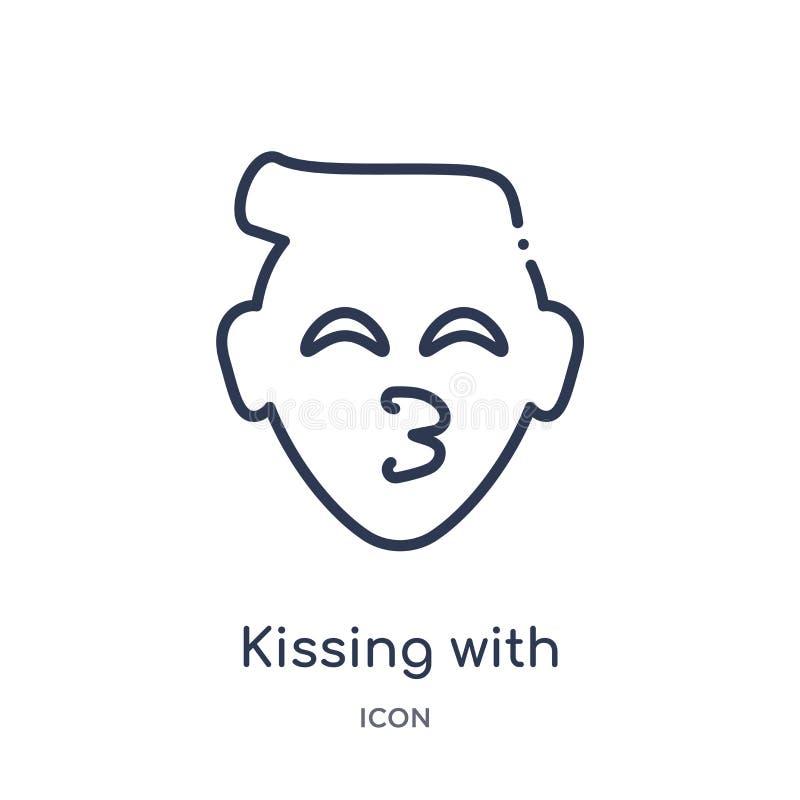线性亲吻与从Emoji概述汇集的微笑的眼睛emoji象 亲吻与微笑的眼睛emoji传染媒介的稀薄的线 向量例证