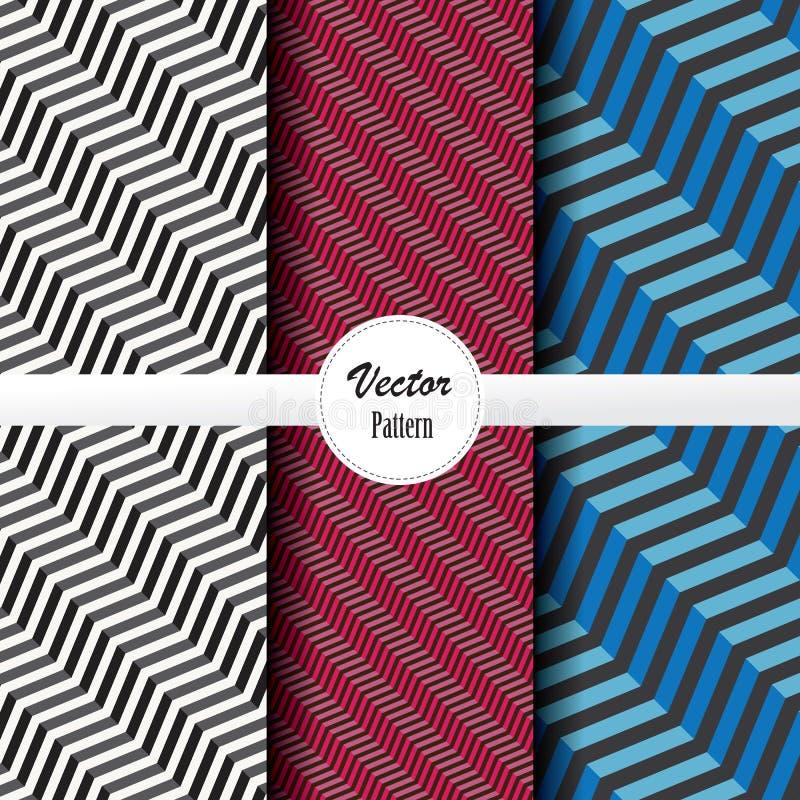 线性传染媒介样式套对角条纹线,抽象条纹波浪标度在黑白和梯度颜色 向量例证