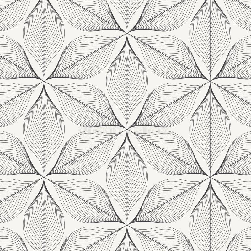 线性传染媒介样式,重复抽象叶子,叶子灰色线或花,花卉 图表清洗织品的设计,事件 向量例证