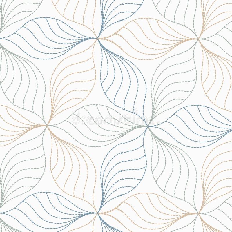 线性传染媒介样式,重复抽象叶子,叶子灰色线或花,花卉 图表清洗织品的设计 库存例证