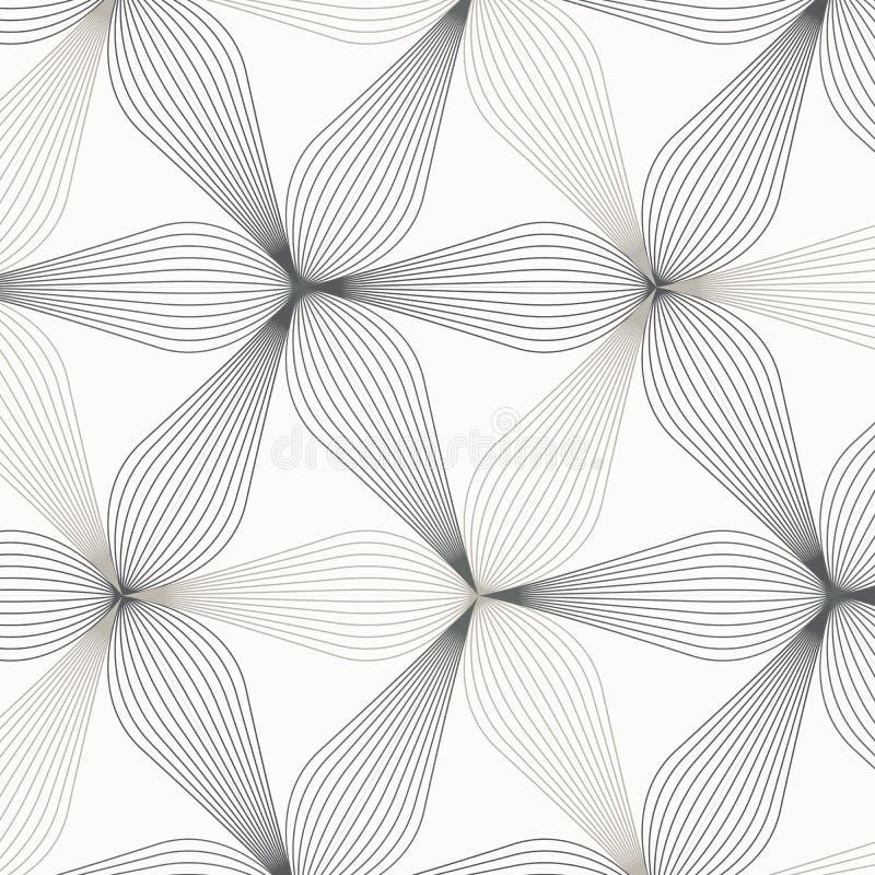 线性传染媒介样式,重复抽象花叶子,叶子灰色线或花,花卉 图表清洗织品的设计 库存例证