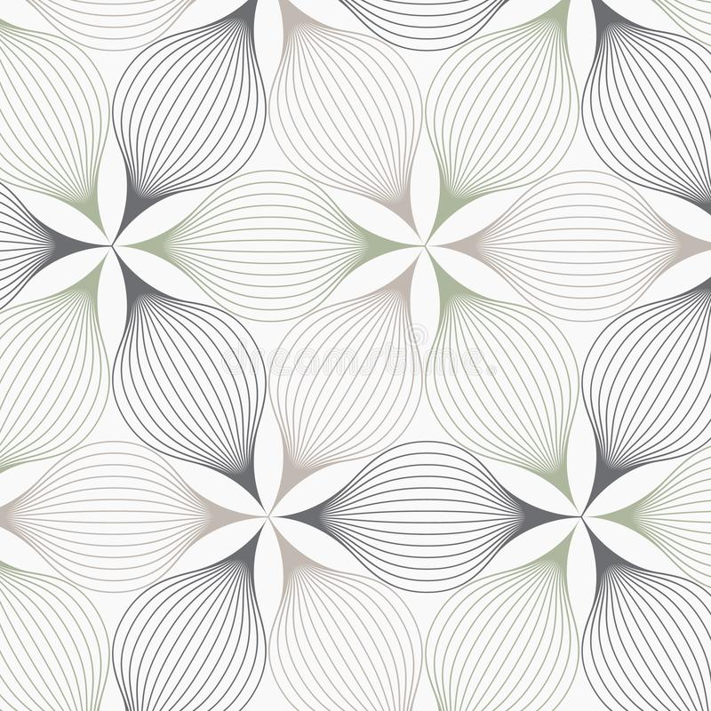 线性传染媒介样式,重复摘要一片线性叶子盘旋在六角形形状的其中每一片 皇族释放例证