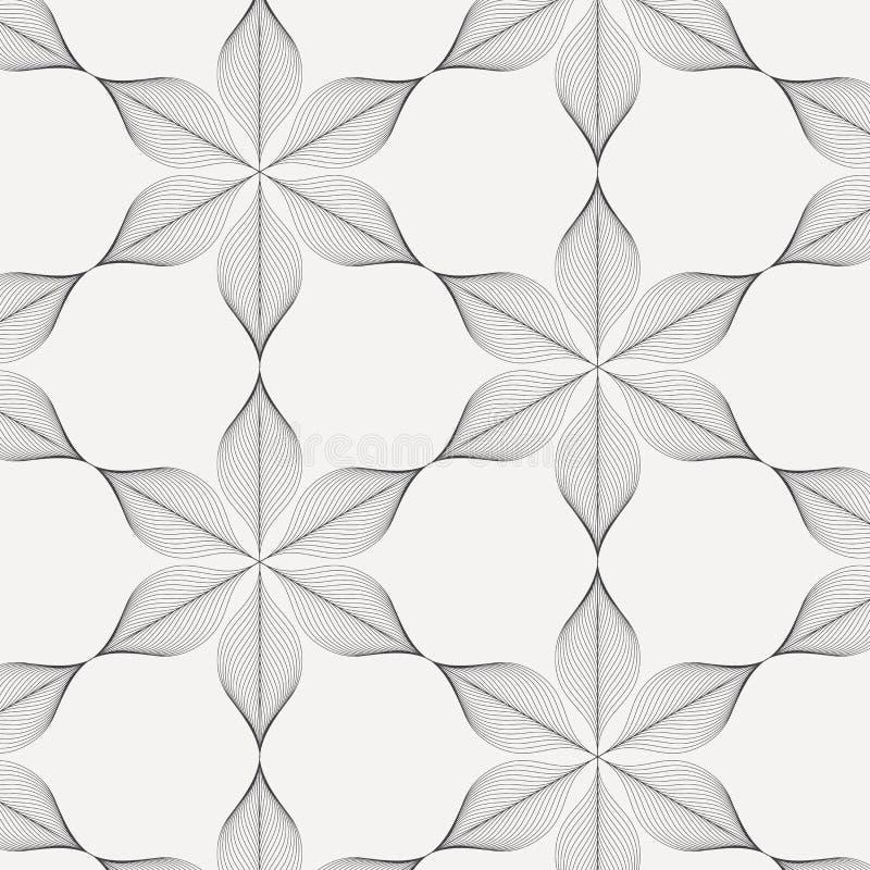 线性传染媒介样式,重复摘要一片线性叶子盘旋在六角形形状的其中每一片 向量例证
