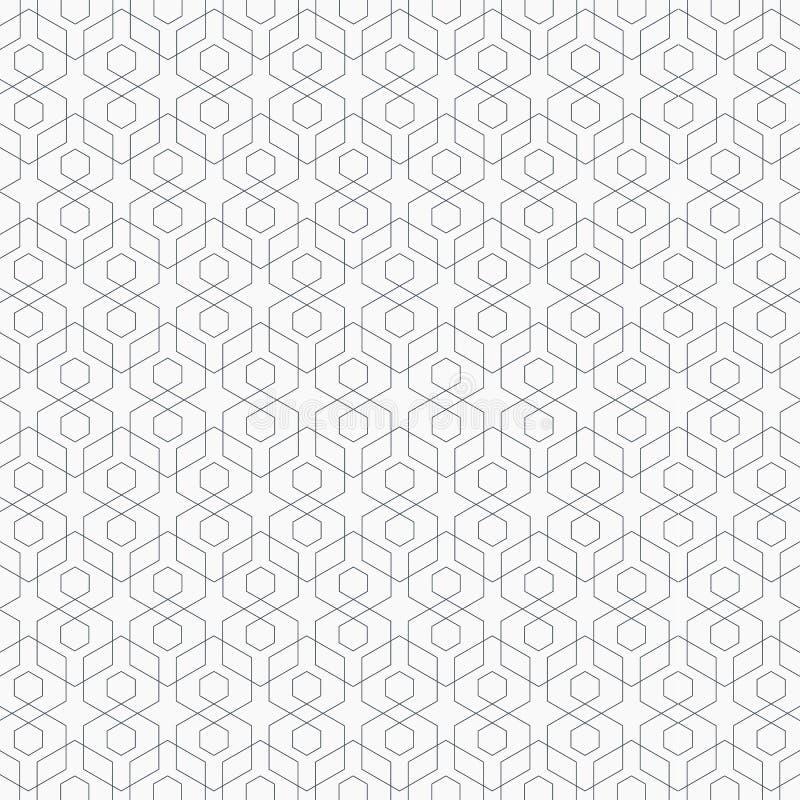 线性几何传染媒介样式,重复线性六角形交叠其中每一 库存例证