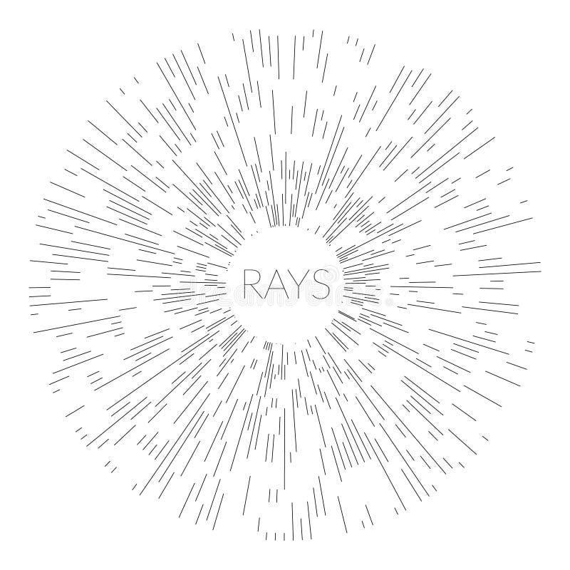 线性图画艺术装饰葡萄酒太阳破裂了在黑白颜色的框架 皇族释放例证