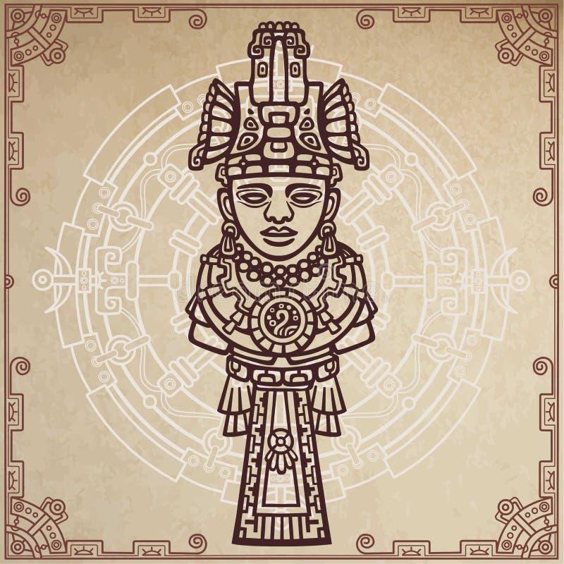 线性图画:一个古老印地安神的装饰图象 不可思议的圈子 背景-老纸的模仿 向量例证